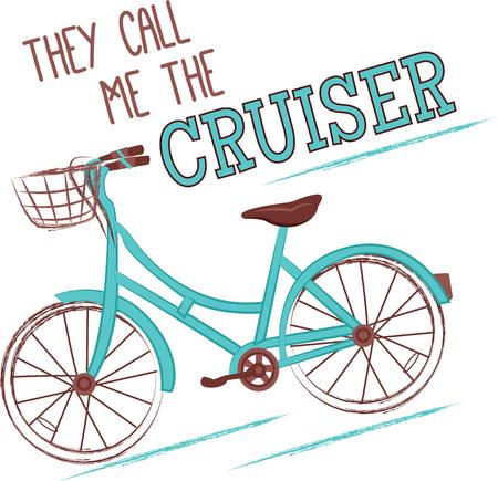wheeler: Everyone remembers the relaxing days riding a bike.  Add this to a towel, shirt, bag or hat. Illustration