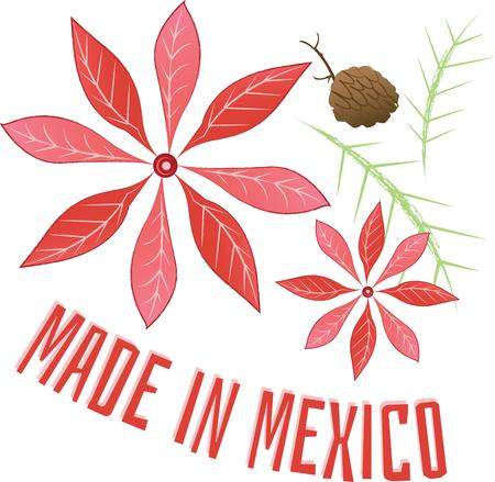 pinecone: Poinsettias are beautiful at Christmas time.  Use this design with your decorations. Illustration