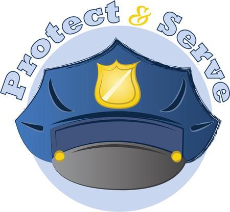 obedecer: Usted conf�a su seguridad a los oficiales de polic�a cada d�a. Este dise�o es perfecto para agradecer a ellos! Se les va a encantar! Vectores