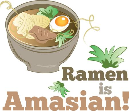 ramen: A yummy bowl of ramen with extra ingredients.  Add this perfect design to an apron or towel. Illustration