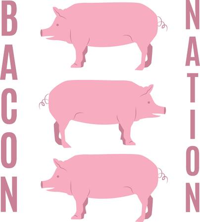 oink: Farm animals are an enduring theme with the young and young at heart.  Create unique gifts for loved ones with this design on t-shirts, sweatshirts, totes, wall hangings and more! Illustration