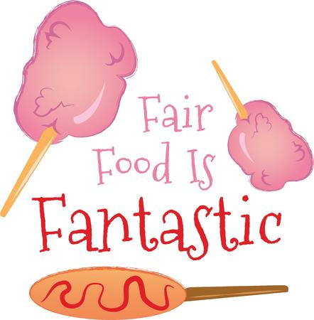 fairs: Candy floss and corn dogs! This yummy treat perfect for carnivals, the circus, town fairs and parades will look great on framed embroidery, clothing, totes and more.