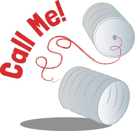 tin: This tin can phone is perfect for the play room. Embroider this design on clothes, towels, pillows, gym bags, quilts, t-shirts, jackets or wall hangings! Illustration