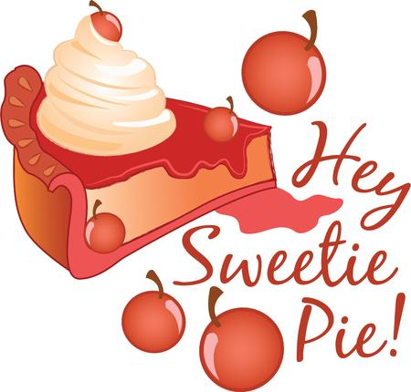 drupe: This cherry pie design is perfect for the bakery. Embroider this design on clothes, towels, pillows, gym bags, quilts, t-shirts, jackets or wall hangings! Illustration