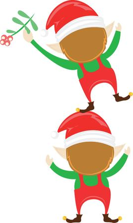 elves: These adorable Christmas elves are the perfect design for shirts, towels, place mats and more! They will make a cute gift. Illustration
