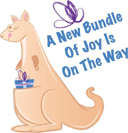 joey: This cute kangaroo is perfect for the baby shower.  Add to napkins, shirts, bags and more. Illustration