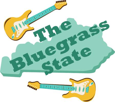 bluegrass: Show pride for your favorite state and make a great keepsake with this design on t-shirts, jackets, sweatshirts, hats and more!