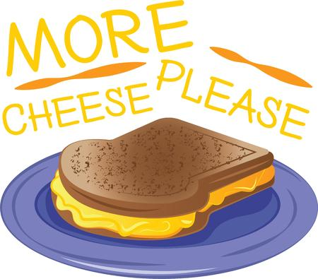 melted cheese: For a special breakfast treat, theres nothing like a freshly made grilled cheese sandwich .  A perfect design on tablecloths, kitchen linen and more! Illustration