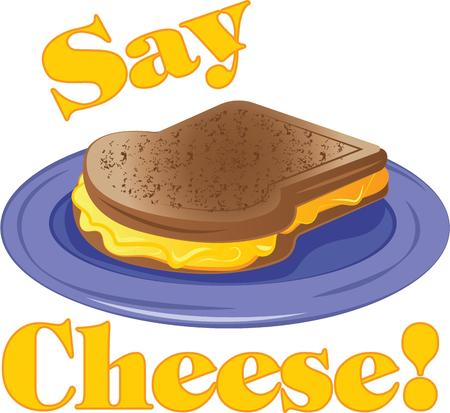 say cheese: For a special breakfast treat, theres nothing like a freshly made grilled cheese sandwich .  A perfect design on tablecloths, kitchen linen and more! Illustration