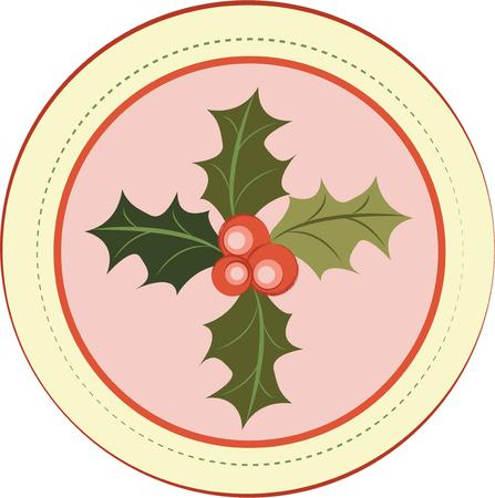 tidings: Star dust, holly boughs and plum cake.  Send tidings of sweetness and peace with this design on your Christmas projects! Illustration