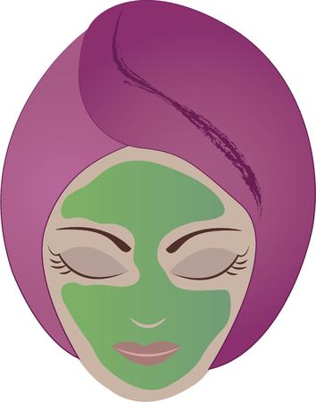 hair mask: Rejuvenate your body and mind with this relaxing design on framed embroidery, towels, aprons and more for your spa! Illustration