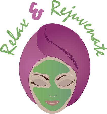 rejuvenate: Rejuvenate your body and mind with this relaxing design on framed embroidery, towels, aprons and more for your spa! Illustration