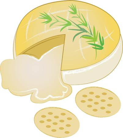 brie: Spice up your kitchen decor and chefs apparel with this design on kitchen linen, chef coats, apron and hats. Illustration