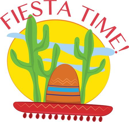 versatile: Spruce up your Mexican Fiesta with these bright and colorful sombrero.  This versatile design offers endless possibilities on any project. Illustration