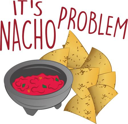 nacho chip: This perfect combination for group relaxation will be a great design on on kitchen linen, tablecloths, napkins and gifts.
