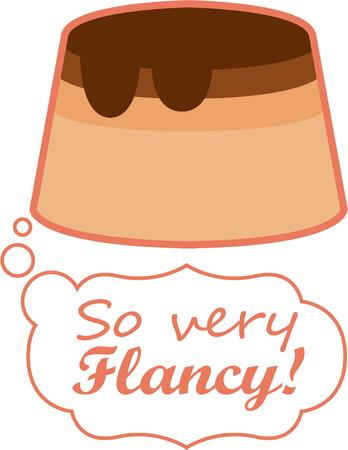 flan: This impossible to resist dessert choice will make a perfect gift for loved ones on framed embroidery, kitchen linen, chef coats, apron and hats.