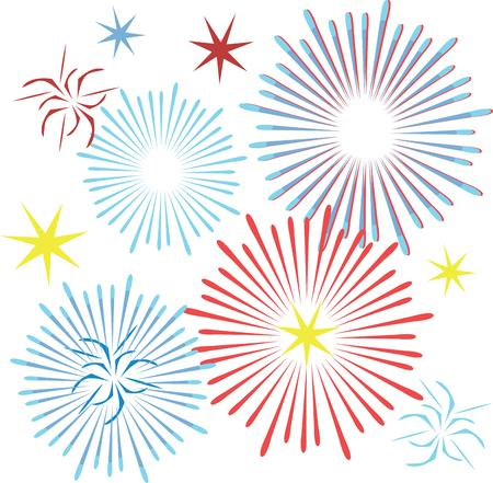 fireworks show: Show off your patriotic side by wearing this colorful fireworks design on t-shirts, scarves, hats and more for Independence Day! Illustration