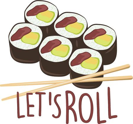 chop stick: Get adventurous with your food and roll up some sushi and create a stimulating visual miracle with this design on kitchen linen, tablecloth and more!