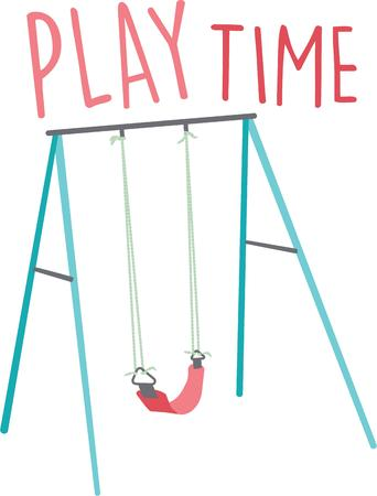 playtime: The play area in the local park is a favorite destination for kids to climb, swing and slide!  Add this fun design to your childs bedroom decor and other projects! Illustration