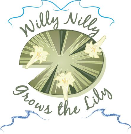 lily pad: A perfect design for your sailor, boater or lover of all things nautical embroider on clothes, towels,  gear bags,  shirts, jackets or wall hangings.