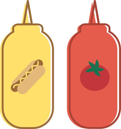tomato catsup: Everything tastes better with ketchup and mustard.  Catch up with your ketchup lovers with this design on clothing, throw pillows, kitchen linen and more.