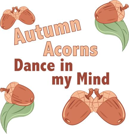 acorn seed: This cozy fall design is perfect on gifts, accessories, kitchen linens, home decor, holiday clothing and much more. Illustration