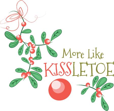 pucker: Pucker up beneath our mistletoe!  Spread some festive cheer with this design on sweaters, sweatshirts and other holiday projects!