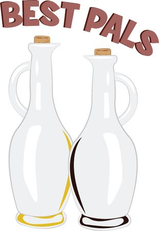 cruet: Add whimsy to a simple and heartfelt expression on kitchen linen, chef coats, apron, hats and more.