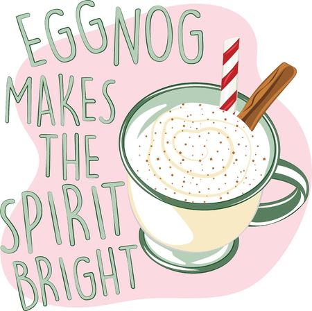 eggnog: No drink signals the advent of the Yuletide more than eggnog. That chilled, sweetened and frothy treat.  Just in time for holiday libations, enjoy this design on your Christmas projects. Illustration