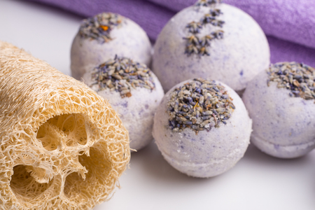 Aromatic bath bombs on a white background