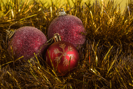 tradition: Christmas composition on a yellow matte background.