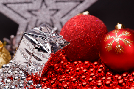 Christmas composition on a dark matte background.