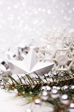 Christmas composition of Christmas tree toys on a silver background Stock Photo