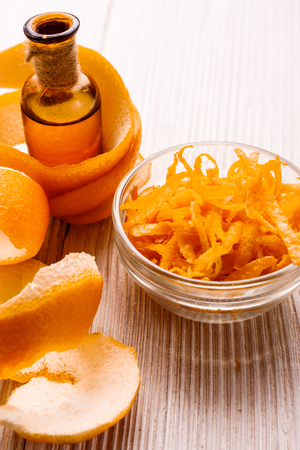 orange essential oil on a white background.