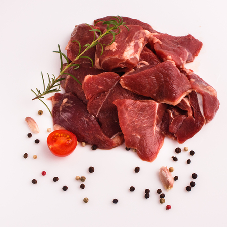 fresh lamb meat on a white background.