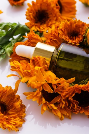 essential oil of calendula on a white background.