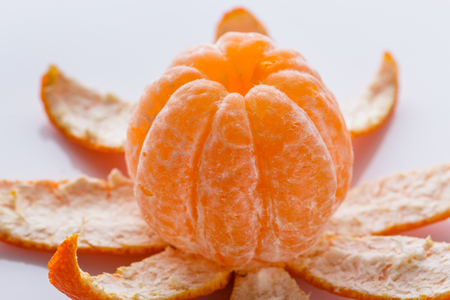 closeup of a peeled mandarin orange Banco de Imagens