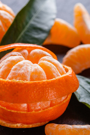 Closeup of peeled mandarin orange