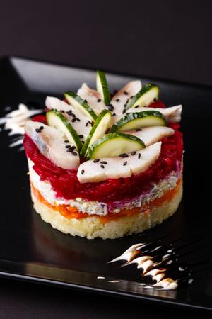 Russian salad herring under fur coat. Standard-Bild - 124194109