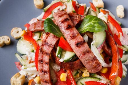 Salad with grilled sausage paprica cucumber and croutons. Standard-Bild - 124900761