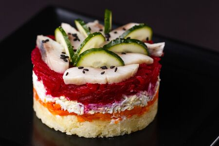 Russian salad herring under fur coat.