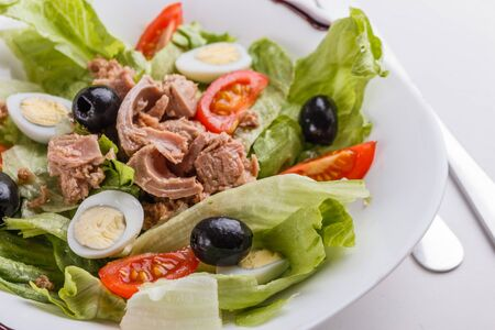 Fresh salad with iceberg lettuce,tomatoes,eggs,canned tuna and olives.