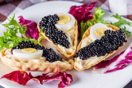 delicious snack tartlets on dark stone background.