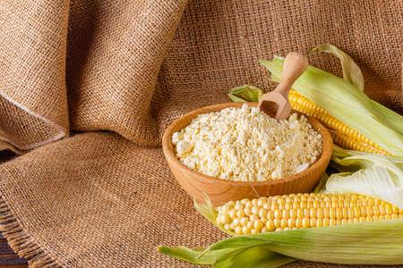 corn flour on a dark rustic background
