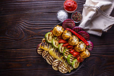 appetizing fresh grilled vegetables in a cast iron skillet Stock fotó