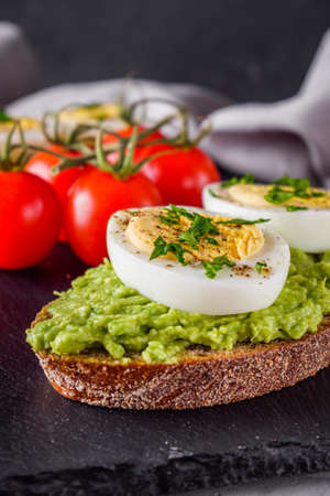 tasty and nutritious avocado sandwich and boiled egg Stock fotó