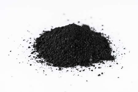 activated carbon on a white acrylic background.