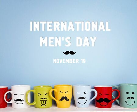 International men's day background with colorful mugs with a mustache on a blue background.