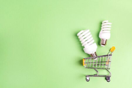 Shopping trolley with energy saving lightbulb. Top view, copy space. Save energy concept.
