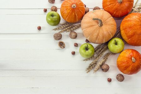 Background with pumpkins, nuts, apples and ears of wheat on a white wooden boards. Space for text. View from above. 写真素材